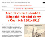 Věra Laštovičková (UMPRUM): Architecture and Identity: German National houses in Bohemia 1861-1918