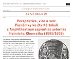 Lecture by Ivo Purš: Perspective, vision and dream: Notes on the fourth board of Amphitheatrum sapientiae aeternam Heinrich Khunrath (1595/1609)
